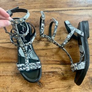 NWOT Free People Gladiator Sandals Snakeskin Black Strappy Studs Tall Gray 8